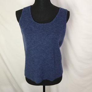 Eileen Fisher 100% Wool Blue Ribbed Tank Size L